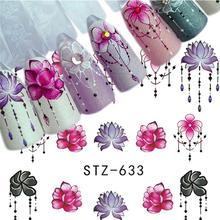 5 Sheets 3D Flower Series Nail Art Water Transfer Stickers Full Wraps Deer Lavender Tips DIY Decals Manicure Sliders