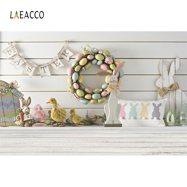 Laeacco Easter Eggs Chick Wooden Board Floor Scene Baby Children Photography Backgrounds Photographic Backdrops For Photo Studio