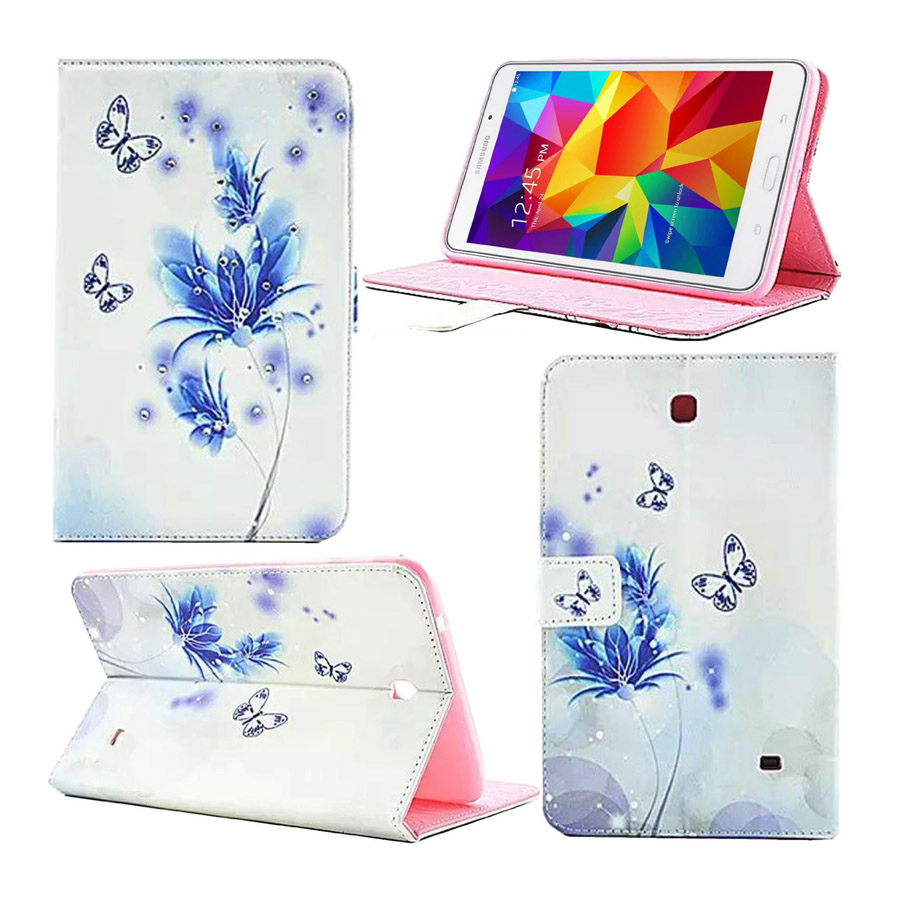 For Samsung Tab 4 8.0 Case Leather 2015 Luxury Flower Diamond Book Cover Cases for Samsung Galaxy Tab 4 8.0 Tablet T330 7 Styles luxury 7 flower pug tablet pu leather flip stand tablet book cover case for samsung galaxy tab 4 tab4 7 0 t230 t231 t235 z1