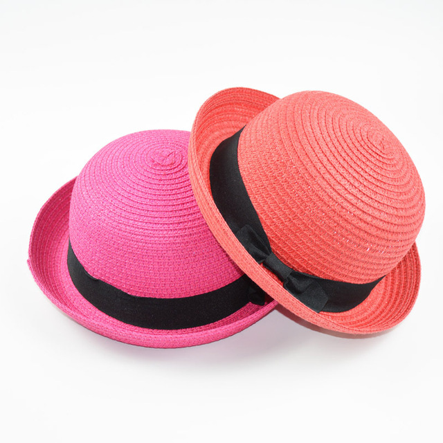 1075f9045ad Parenting models small round hat ladies summer Korean version of the dome  hat cute curling small hat beach visor tide