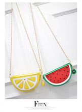 Fashion Women handbags fruit bag watermelon orange bag pocket lemon shoulder bags cartoon crossbody bags