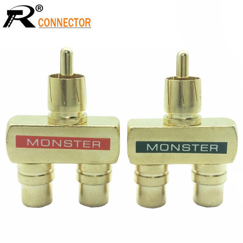 2Pcs/1pair Copper RCA Audio Y Splitter Plug Adapter 1 Male To 2 Female Gold Plated Connector RCA 3 Way Connector