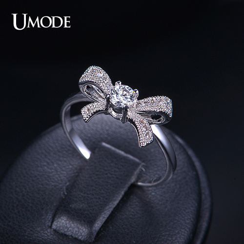 font b UMODE b font Bague Pour Femme Fashion Rhodium plated Bowknot font b Rings