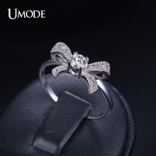 UMODE Bague Pour Femme Fashion White Gold Color Bowknot Rings For Girl Gift Wholesale Cheap AAA