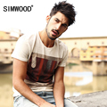 SIMWOOD Brand New Men Clothing T shirt  Summer Short sleeve O-neck Print Casual Slim T shirt Mens Tops Tee Free Shipping TD1023