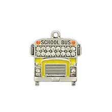 School Accessories Wholesale Crystal Stone School Bus Pendants Charm For Bus Driver Gift Jewelry(China)