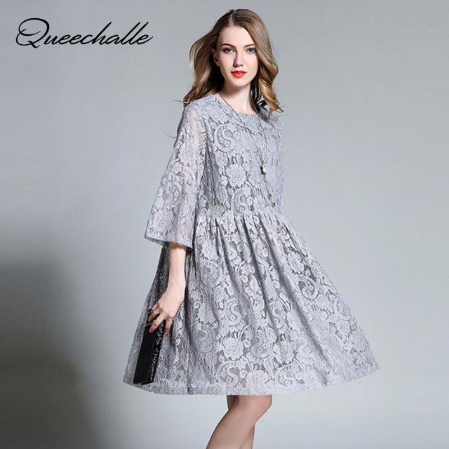 Queechalle 2018 Summer Dress female hollow out floral lace dress pleated A-line  dresses 3XL 4XL plus size women dress gray navy e9f5eee5d9ed