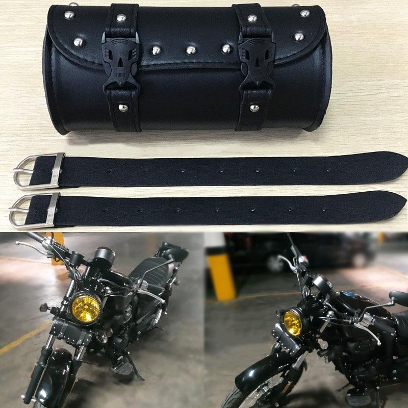 BLACK Motorcycle Bike Front Handlebar Tool Bag Luggage Saddle Bag Leather MY