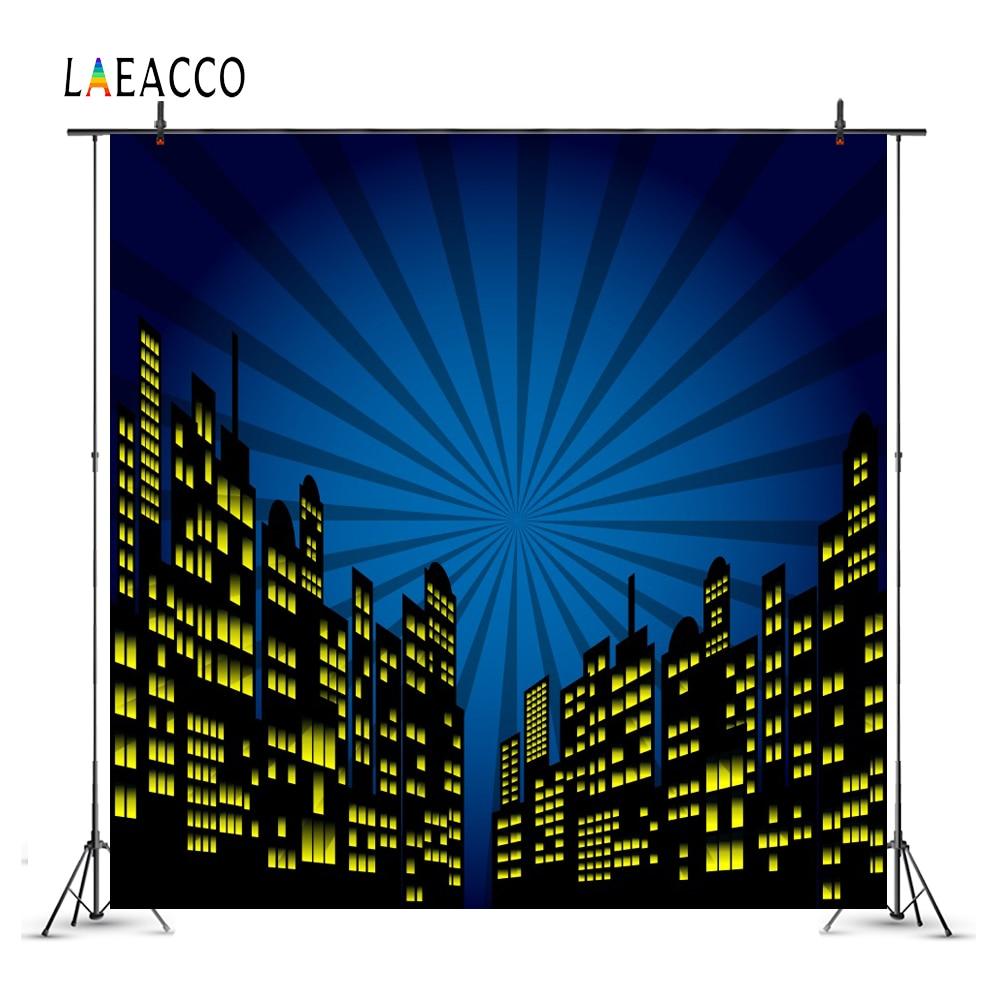 Laeacco comic cidade construção super herói bebê fotografia fundos personalizados backdrops fotográficos adereços para estúdio de fotos