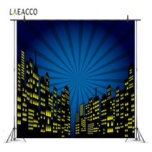 лучшая цена Laeacco Comic City Building Super Hero Baby Photography Backgrounds Customized Photographic Backdrops Props For Photo Studio