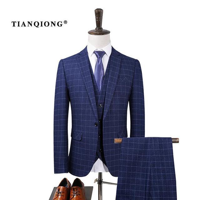 TIAN QIONG Chaqueta + Chaleco + Pantalones Para Hombre Vino Rojo Azul A Cuadros  Trajes df65fd59d9f1