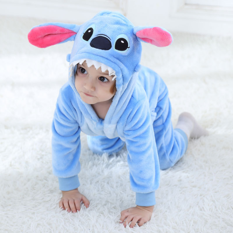 Baby Stitch Tiger Kigurumi Pajama Clothes Newborn Infant Romper Animal Onesie Cosplay Costume Outfit Hooded Jumpsuit Winter Suit