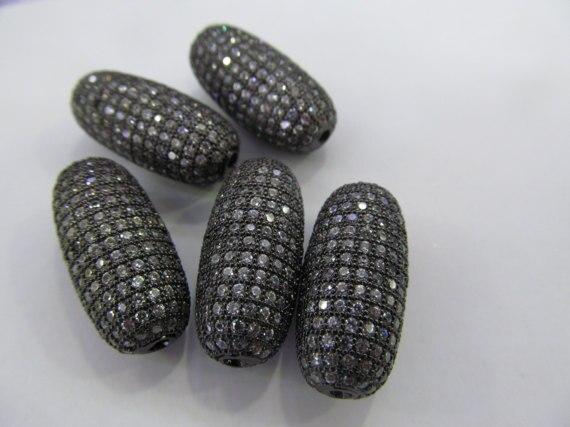 6pcs 25x11mm Handmade Micro Pave Diamond Pendant gunmetal Jewelry Drum Barrel Rice Jewelry beads6pcs 25x11mm Handmade Micro Pave Diamond Pendant gunmetal Jewelry Drum Barrel Rice Jewelry beads