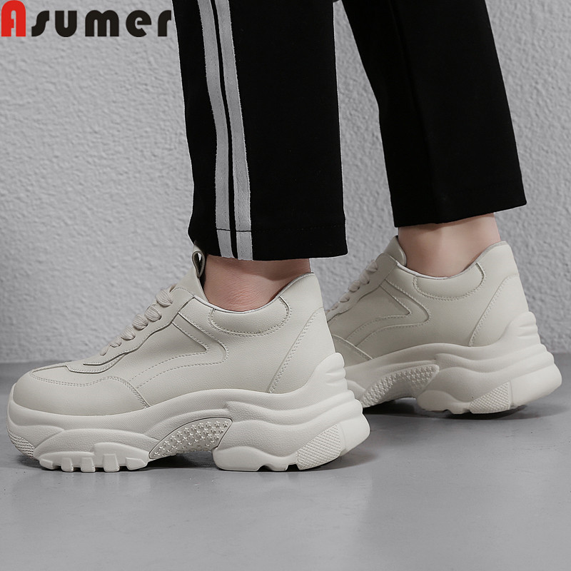 ASUMER 2019 fashion spring autumn new shoes woman round toe genuine leather shoes women casual lace