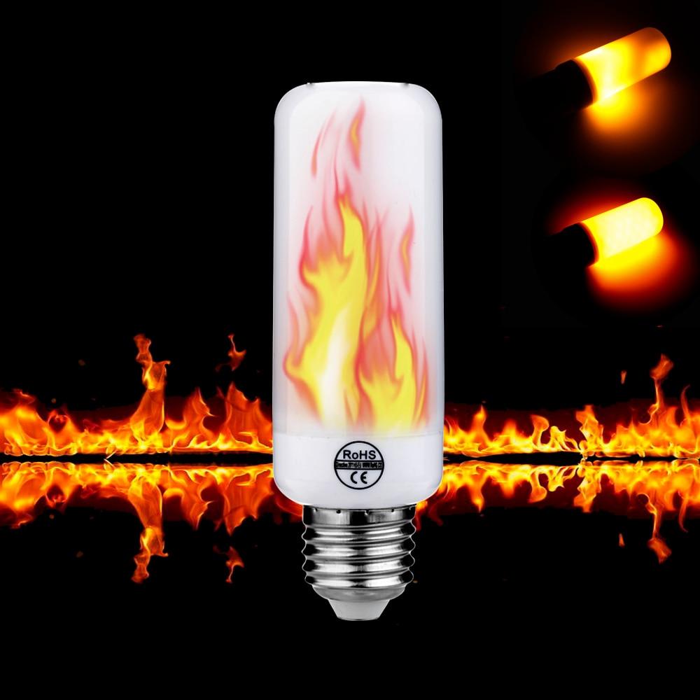 E27 E26 E14 G4 Led Flame Effect Fire Light Bulb 7w 2w Ac85