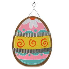 1pc Wooden Plaque Easter Eggs Galvanized Corrugated Iron Hanging Board Wooden Spring Garden Plate Happy Easter Home Decor