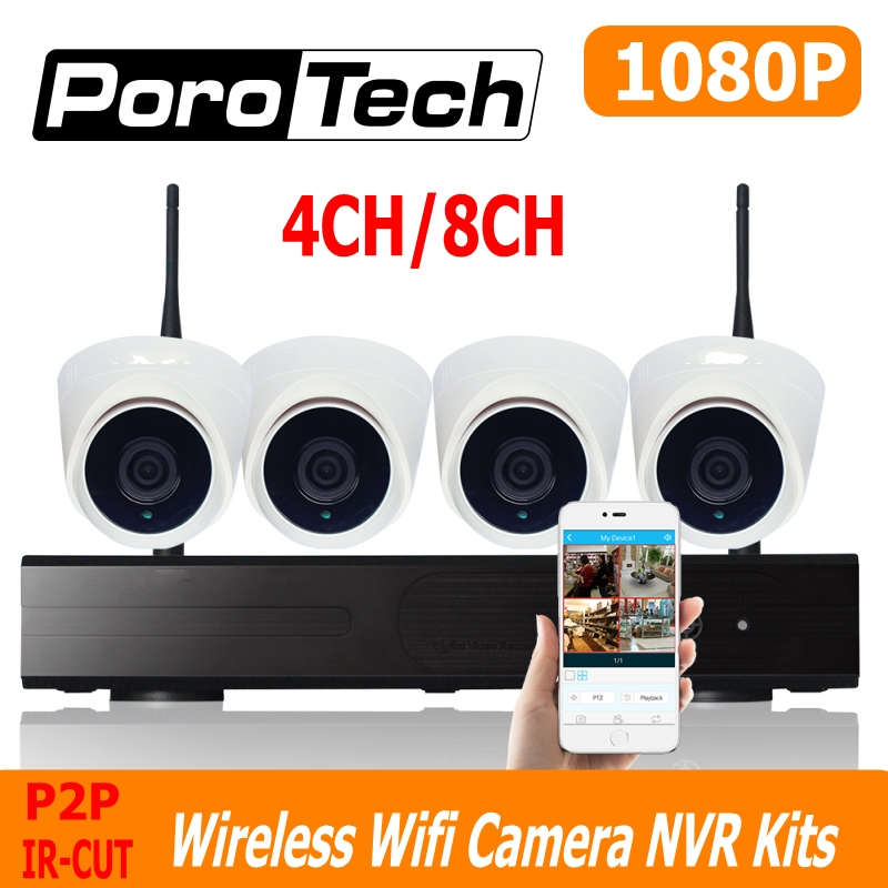 4CH 8CH wifi cctv kits 1080P wireless camera nvr kit  IR night vision dome camera Surveillance System Set 500m cascade mode