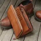 Dos homens de Couro genuíno sacos de embreagem longo zipper carteira retro artesanal juventude Retro masculino multi carteiras de cartão de grande capacidade - 4