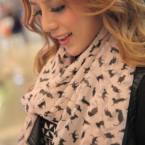 White rabbit 2014 Korean winter, Chiffon Scarf Shawl scarves lady Kitty Long Scarf+Free shipping