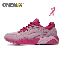 Original ONEMIX Running Shoes for Women Trainers Pink Ribbon Pig Eight Leather Zapatos de Deporte Mujer Sneakers Free Ship