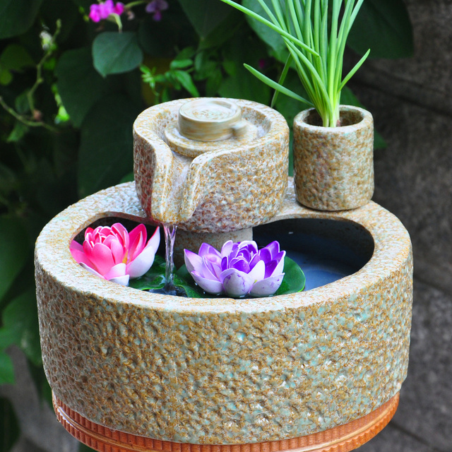 table water fountain. water story stone feng shui round ceramic tabletop fountain aquarium ornaments crafts opening gifts table