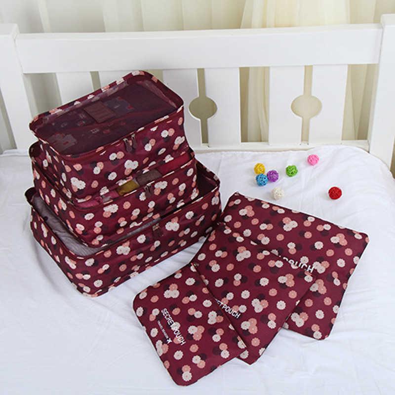 6 pçs/set Travel Organizer Sacos de Armazenamento de Roupas Organizador Tidy Bolsa Mala de Bagagem Portátil Saco de Roupa de Embalagem Caixa De Armazenamento