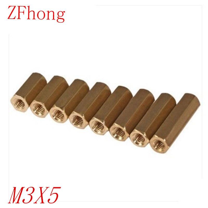 100PCS M3 Brass Hex Standoff M3 x 5 M3*5 Female to female Brass spacer standoff