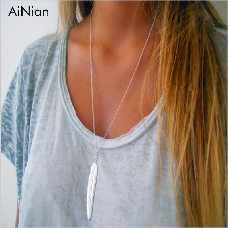 AiNian Retro Statement Long Feather Pendant Necklace For Wom