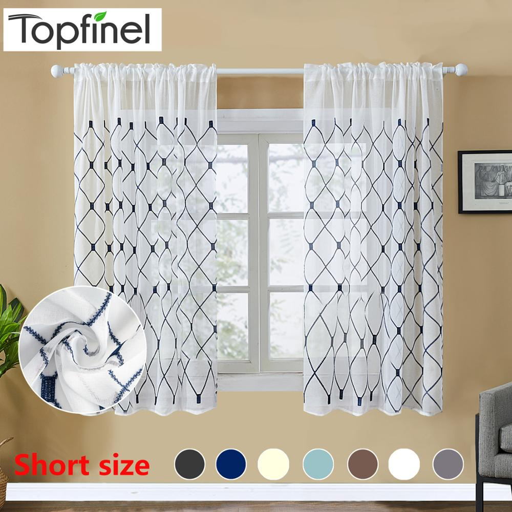 Topfinel Geometric Embroidered Short Sheer Curtains Tulle Window Curtains For Kitchen