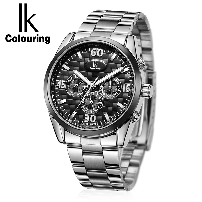 IK Colouring Luxury Mechanical Watches Men Full Steel Luminous Sports Men Watch Multifunction Automatic Watches Relojes Hombre ik colouring luxury men watches hand wind mechanical watch full steel fashion casual male clock sport wristwatch relojes hombre