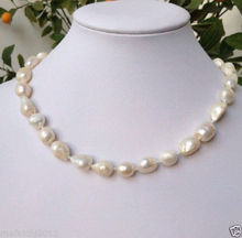 choker Women Gift word Love new Fine 9-10mm White Freshwater baroque Pearl Necklace 18″ AKOYA Real natural beads
