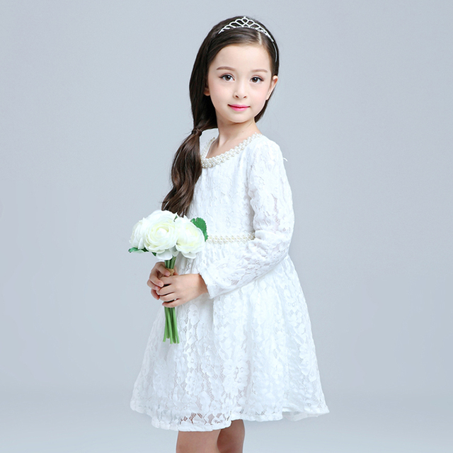 cf91a12fde54 New arrival winter lace frocks baby girl kids party wear dresses white  princess pearl decorative collar fairy free shipping