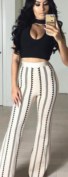 2017 Sexy Two Piece Bandage Pants Set Casual Two Piece Set Pants And Top Women Wide Leg Pants And Top Set Bandage HL Wholesale cat pattern print top and pants pajama set