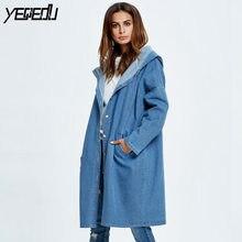 #5303 New 2019 Spring Hooded Long Blue Denim Trench Coat Women Fashion