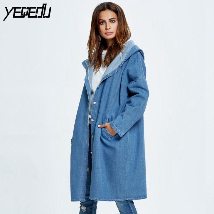 #5303 New 2019 Spring Hooded Long Blue Denim   Trench   Coat Women Fashion Denim Overcoat Ladies Plus Size Denim Coats Long Oversize