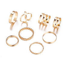 TTLIFE 8 Pcs/Set Simple Design Round Gold Color Rings Set For Women Handmade Geometry Finger Ring Female Jewelry Gifts