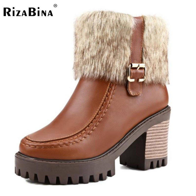 RizaBina Size32-45 Women Square High Heel Ankle Boots Ladies Sexy Platform Autumn Winter Boot Woman Brand Quality Shoes Footwear women round toe ankle boots woman fashion platform wedge botas ladies brand suede leather high heel shoes footwear size 34 47
