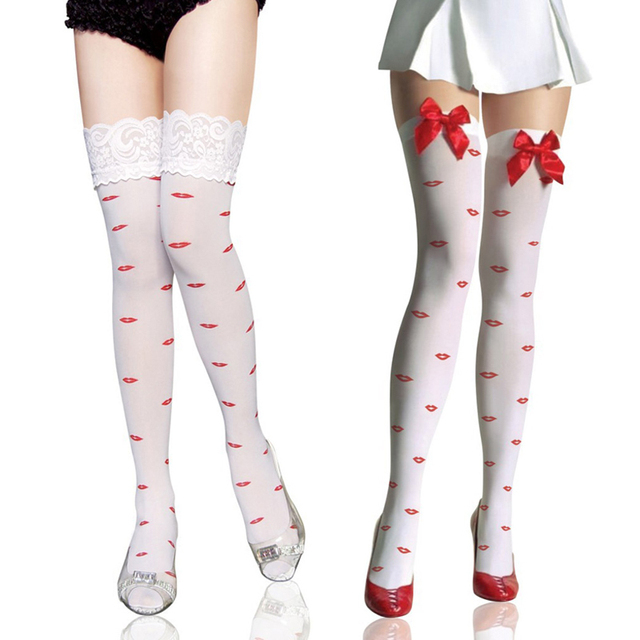 Envío gratis lápiz labial Rojo jacquard lazo de terciopelo medias medias de encaje de ancho de la rodilla calcetines del muslo altos calcetines 2051
