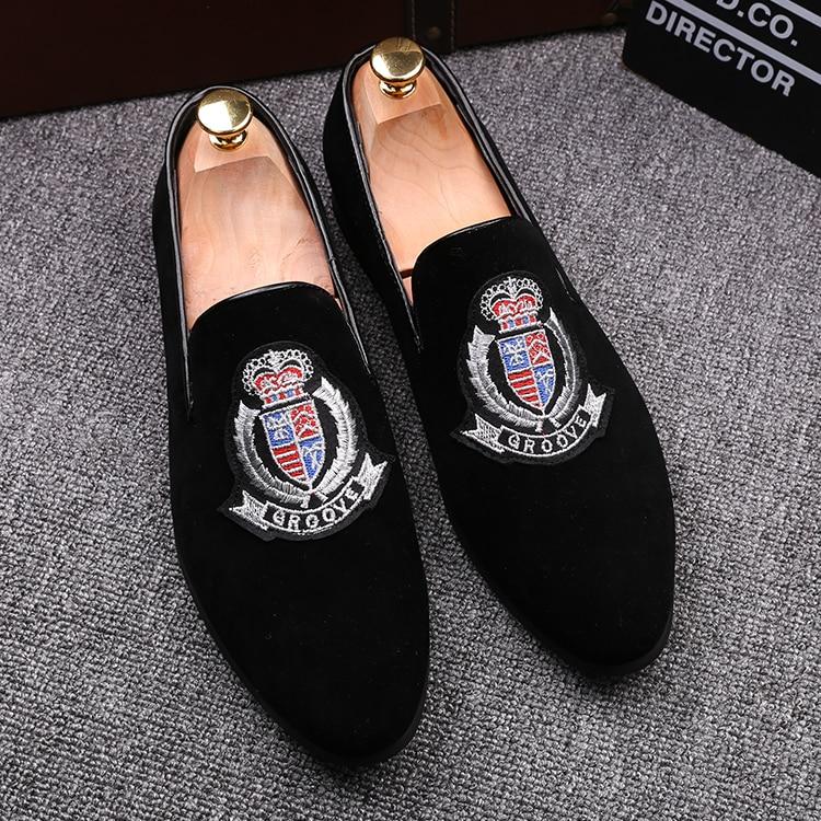 Styles Brodé 5 Velve 2 Motif 1 3 Grande 4 Mocassins Discothèque Wingtip Daim Noble Robe Mens 5 Taille Chaussures Noir 6qOdn6
