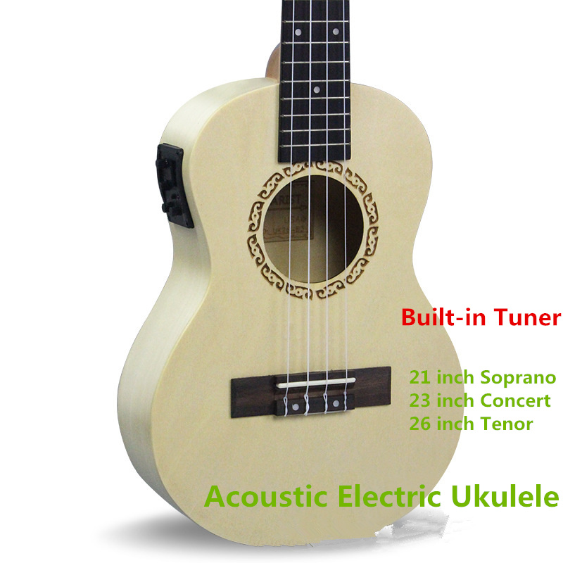 Soprano Concert Tenor Acoustic Electric Ukulele 21 23 26 Inch Small Mini Guitar 4 String Ukelele Guitarra Built In Tuner Uke 2015 xia 3rd asia tour encore flower concert in seoul release date 2016 08 26 kpop
