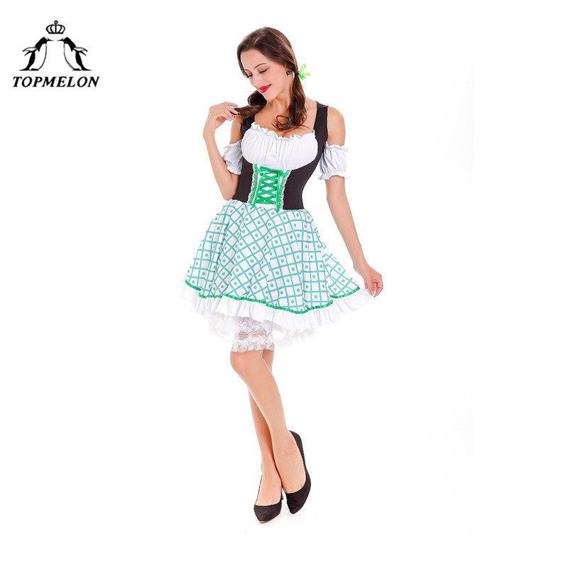 TOPMELON Cosplay Peasant Fantasia Uniform Women Halloween Holiday Shows Plays Costume Lace Plaid Lace Up Bodice Irish Mini Dress