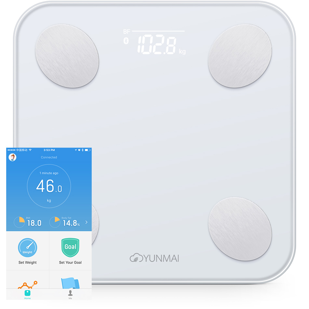 YUNMAI Mini 2 Balance Smart Body Fat Weight Scales Health Digital Weighting Scale English APP Control International Version 2 0 lcd digital personal body weight scale 150kg 100g 2 x aaa