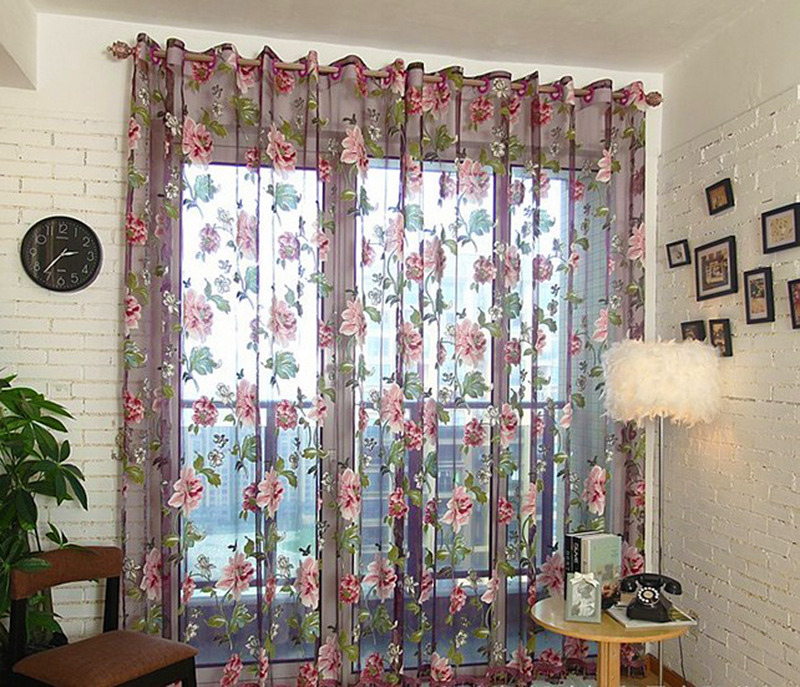 1 Pc Curtain And 1 Pc Tulle Peony Luxury Window Curtains: New 1Pc Purple Yellow Tulle For Windows Luxury Sheer