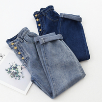 2019 New Fashion Women Jeans Pants Elastic Waist Korean High Street Demin Capri Trousers Ankle Length