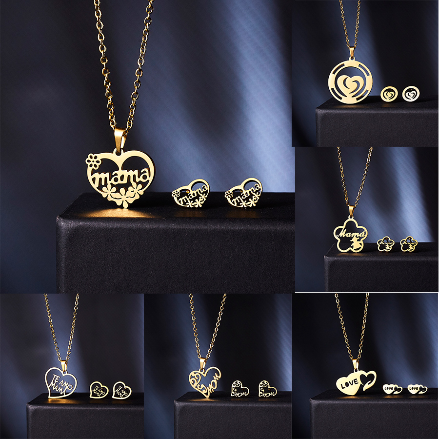 Collier Femme <font><b>Stainless</b></font> <font><b>Steel</b></font> <font><b>Jewelry</b></font> <font><b>Set</b></font> Gold Chain Love Heart Mama Mom Pendant Necklaces Earing <font><b>Set</b></font> <font><b>Jewelry</b></font> Mother's Day Gift image