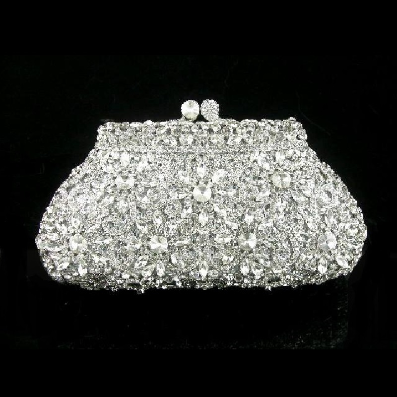 #8126S Silver Crystal Flower Floral Bridal Party hollow Metal Evening purse clutch bag case box handbag