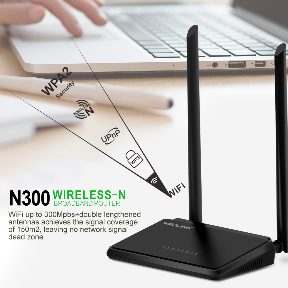Wavlink N300 300 Mbps Mini Casa Pulsante WPS Wireless Router WiFi 5dBi 2.4G Antenne Esterne ROUTER A Banda Larga 5WAN/Porte LAN QoS