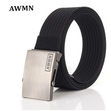 AWMN Good quality canvas men belts luxury Knitted nylon belt alloy Buckles Belts Army Tactics design Casualstyle male strap 68