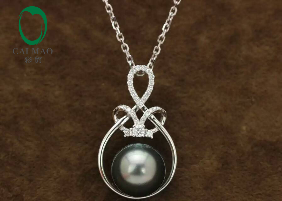 14k White Gold precious Black Pearl& 0.22ct Diamond Pendant manufacturer Free Shipping коаксиальная автоакустика pioneer ts a6933is