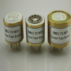 Image 1 - 1PC E88CC 6922 6DJ8 6N11 (Top) TOT 5670 6N3 (Bodem) elektronische Buis DIY Audio Vacuümbuis Adapter Socket Converter Gratis Verzending